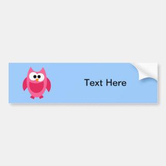 Owl Owls Bird Birds Pink Colorful Cute Cartoon Bumper Sticker