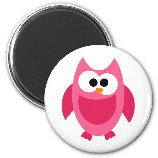 Owl Owls Bird Birds Pink Colorful Cute Cartoon Fridge Magnet