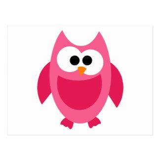 Owl Owls Bird Birds Pink Colorful Cute Cartoon Postcard