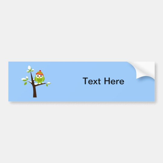 Owl Owls Bird Green Hat Snow Cute Tree Cartoon Bumper Sticker