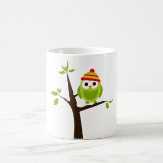 Owl Owls Bird Green Hat Snow Cute Tree Cartoon Classic White Coffee Mug