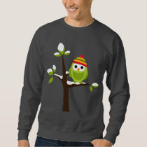 Owl Owls Bird Green Hat Snow Cute Tree Cartoon Sweatshirt