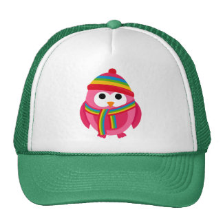 Owl Owls Bird Pink Scarf Winter Hat Colorful Cute
