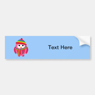 Owl Owls Bird Pink Scarf Winter Hat Colorful Cute Bumper Sticker