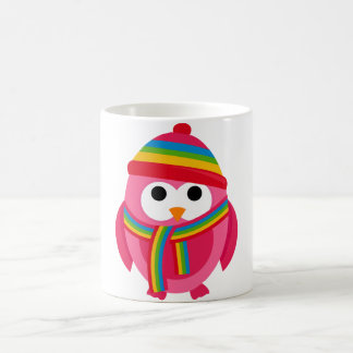 Owl Owls Bird Pink Scarf Winter Hat Colorful Cute Classic White Coffee Mug