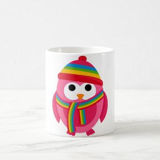 Owl Owls Bird Pink Scarf Winter Hat Colorful Cute Mug