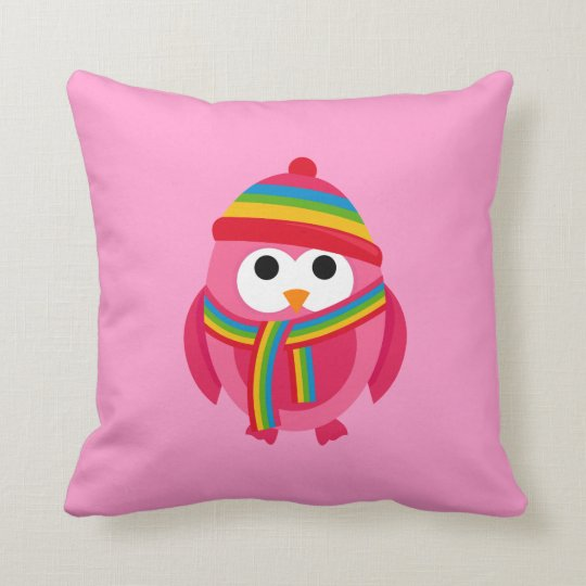 Owl Owls Bird Pink Scarf Winter Hat Cute Pillow