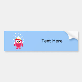 Owl Owls Bird Pink Snow Winter Hat Colorful Cute Bumper Sticker