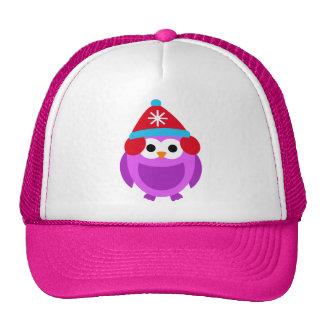 Owl Owls Bird Purple Winter Red Hat Cute Cartoon