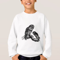 Owl Owls Bird Vintage Wood Engraving Sweatshirt