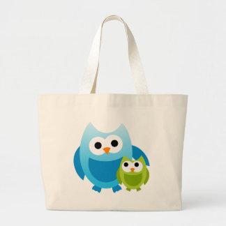 Owl Owls Birds Mom Baby Love Happy Cute Cartoon Canvas Bags