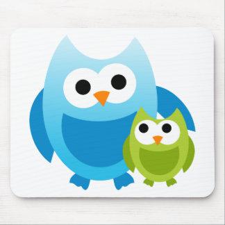 Owl Owls Birds Mom Baby Love Happy Cute Cartoon Mouse Pad