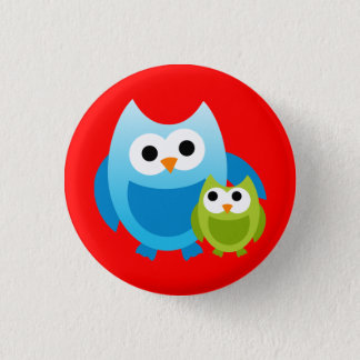 Owl Owls Birds Mom Baby Love Happy Cute Cartoon Pinback Button