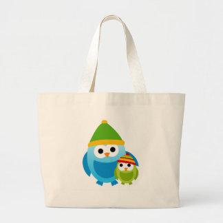 Owl Owls Birds Mom Baby Snow Winter Cute Cartoon Tote Bag