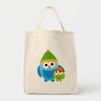 Owl Owls Birds Mom Baby Snow Winter Cute Cartoon Canvas Bags