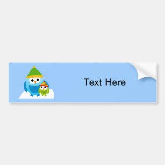 Owl Owls Birds Mom Baby Snow Winter Cute Cartoon Car Bumper Sticker