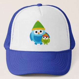 Owl Owls Birds Mom Snow Winter Cute Cartoon Trucker Hat