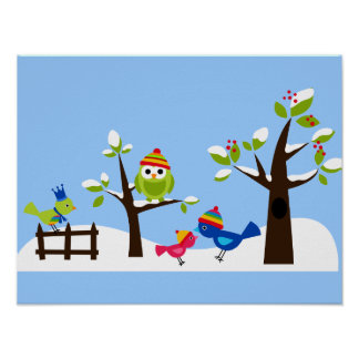 Owl Owls Birds Winter Snow Cute Posters