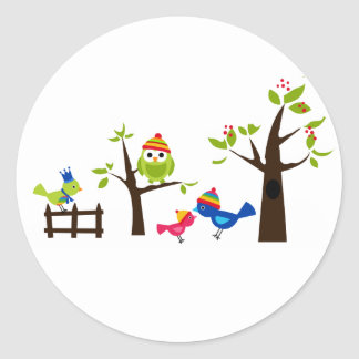 Owl Owls Birds Winter Snow Cute Tree Cartoon Classic Round Sticker