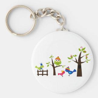 Owl Owls Birds Winter Snow Cute Tree Cartoon Keychain