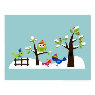 Owl Owls Birds Winter Snow Cute Tree Cartoon Postcard