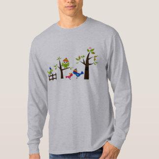 Owl Owls Birds Winter Snow Cute Tree Cartoon T-Shirt