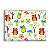 owl owls branches leaf animals nature mushroom envelope