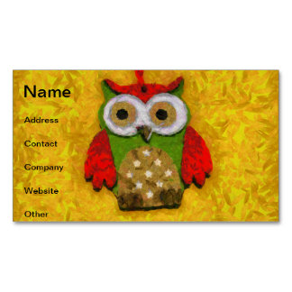 Owl painting magnetic business card
