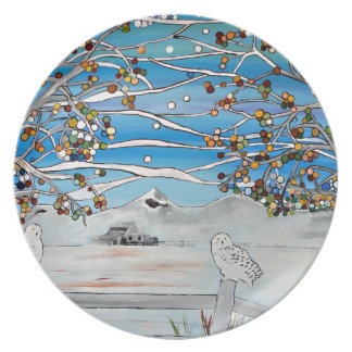 owl painting plate