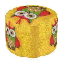 Owl painting pouf