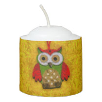 Owl painting votive candle