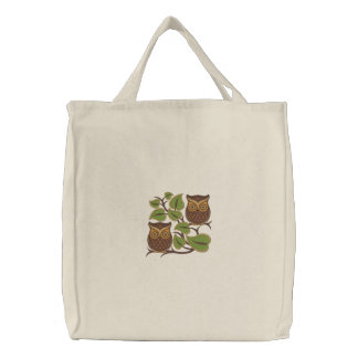 Owl Pair Embroidered Tote Bag