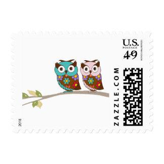 Owl Pair Postage Stamp