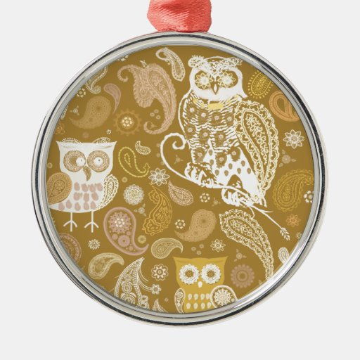 Owl paisley beige pattern round metal christmas ornament
