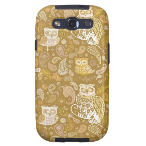Owl paisley beige pattern samsung galaxy s3 cover