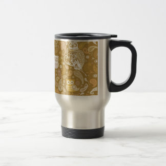Owl paisley beige pattern travel mug