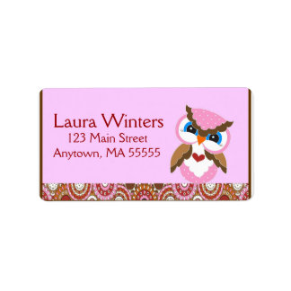 Owl Paisley Birthday Party Address Labels