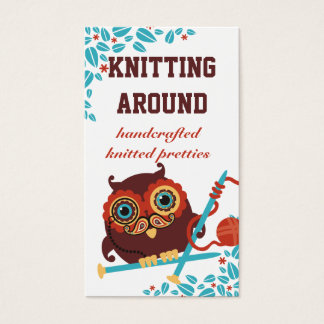 Owl paisley mustache monocle knitting needles yarn business card