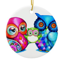 Owl Parents and Baby Ceramic Ornament