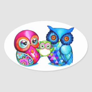 Owl Parents and Baby Oval Sticker