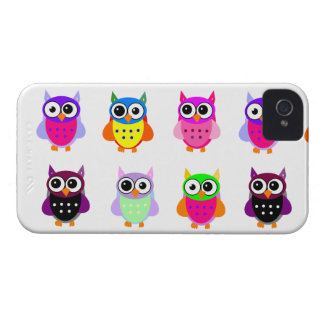 Owl party retro kawaii cute colorful owls iPhone Case-Mate iPhone 4 Case
