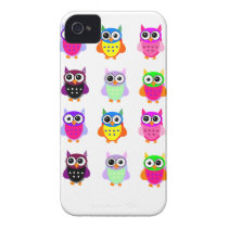 Owl party retro kawaii cute colorful owls iPhone iPhone 4 Case