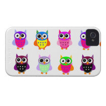 Owl party retro kawaii cute colorful owls iPhone iPhone 4 Case-Mate Case
