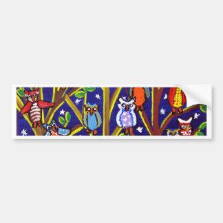 Owl Party Whimsical Folk Art Bumper Sticker