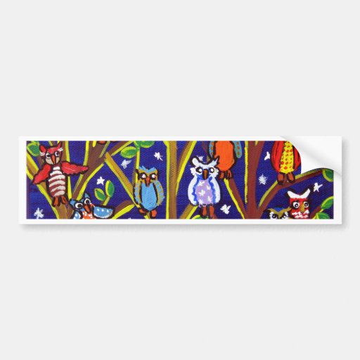 Owl Party Whimsical Folk Art Bumper Stickers
