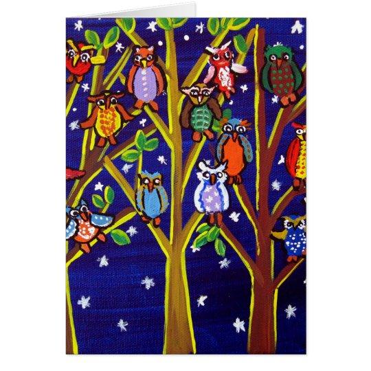 Owl Party Whimsical Folk Art Card