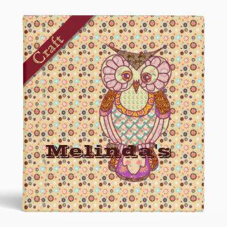 Owl patchwork craft book 3 ring binder