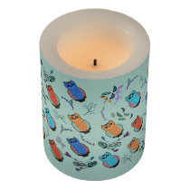Owl Pattern Flameless Candle