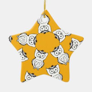 Owl Pattern Fun Ceramic Ornament