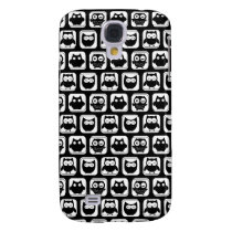 Owl Pattern in Black and White Galaxy S4 Case
